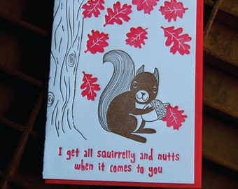 Squirrelly & Nutts - letterpress, folded greeting card, single
