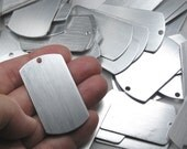 "Brushed Aluminum Dog Tags, (10) 19 gauge (0.87mm) discs for stamping, 2x1.1"" (50x27mm), 3mm hole, lightweight, can be stamped (5 per set)"