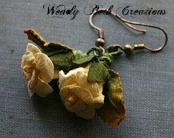 Yellow Paper Rose Earrings