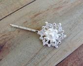 Bridal Pearl and Rhinestone Flower Swirl Hair Pin Wedding Hair Accessory, Bride Hair Jewelry, Ivory Pearl, Crystal Brooch Hair Pin, Silver