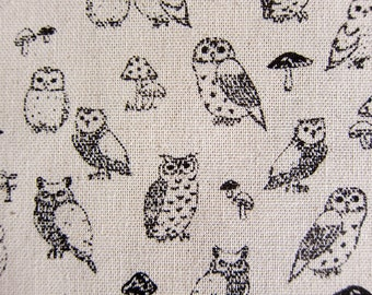 Animal Print Fabric By The Yard - Cotton Linen Blend - Owl Power on Natural - Fat Quarter