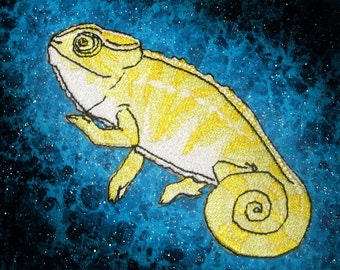 Yellow Panther Chameleon Iron on Patch