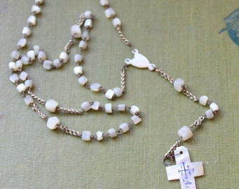 Vintage Rosary Mother of Pearl White Beaded Catholic Cross Religious Medal crucifix