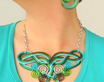 Celtic Dreams Statement Wire Work Necklace - Customize Your Colors