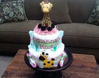 Giraffe Diaper Cake Jungle Theme Baby Shower Centerpiece or gift elephant available and other ribbon colors too