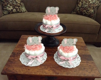 Elephant pink and Grey Diaper Cakes Baby Shower Centerpieces other colors and sizes too