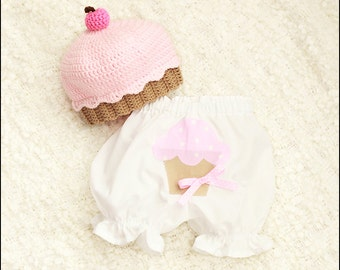 Cupcake Applique Baby Bloomers Hat NOT Included