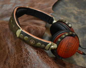LSTN Steampunk Headphones Leather & Wood