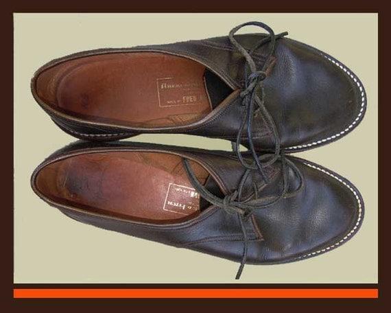 Fred BRAUN Greenwich Village 1960s Matte Brown Leather Beatnik Flats,Oxford Shoes,Vintage Accessories,Women