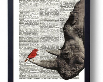 Original Art Print on A Vintage Dictionary Book Page / Rhino & Red Little Bird