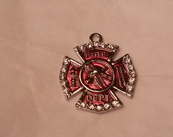 4 Silver plated Firefighter Maltese Cross Shield Crystal Pendant charm