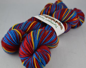 Superman - Hand-dyed self striping MCN sock yarn