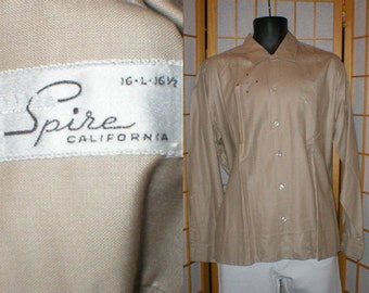 VTG 50s rayon long sleeved shirt w/ embroidered emblem by Spire mens size large / headstock