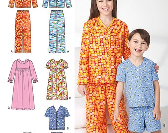 SEWING PATTERN! Girls and Boys Long and Short Pajamas - Nightgown / Size 3-5 or 7-14