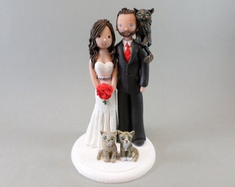 Bride & Groom with Cats Custom Made Wedding Cake Topper