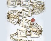 Vintage  RARE Greek Style Unique Solid Brass 43mm Wide Deco Chain Link Belt Starter N6L