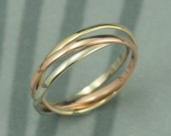 14K Tri Color Rolling Ring--Rose, White and Yellow Gold Interlocking Ring--Three 1.5mm wide Half Round Bands--Russian Wedding Band