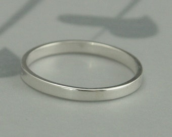 Thin Silver Band--2mm Wide Straight and Narrow--Women's Wedding Band--Flat Edge Silver Band--Solid Sterling Silver Ring--Modern Wedding Ring