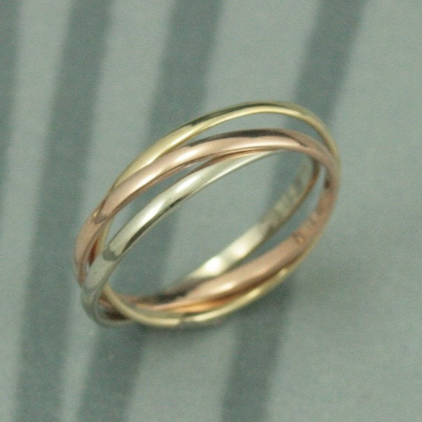 14k tri color rolling ring rose white and yellow gold interlocking ring - Russian Wedding Ring