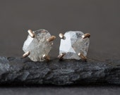 Natural Rose Cut Diamond Slice Stud Earrings- 14kt gold - as seen in LUCKY magazine, People Style Watch and Martha Stewart Weddings