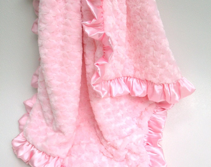Pink Rose Swirl Minky Blanket, for Baby, Teen, or AdultCan Be Personalized