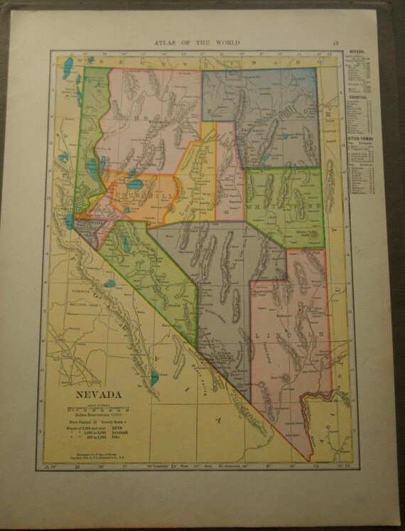 Nevada And Oregon 1907 Vintage Antique US By Moosehornvintage