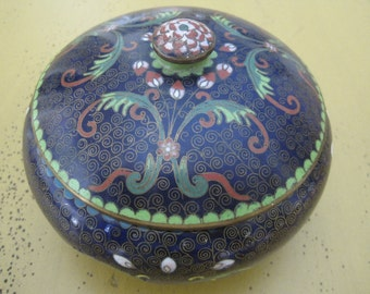 Vintage Chinese Cloisonne Covered Bowl