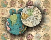 Instant Download - Vintage Antique Map of the World 1 X 1 inch Circles Images - DigitalPerfection digital collage sheet 1018