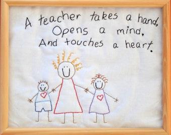 "PDF Stitchery Pattern "" A Teacher Takes a Hand"" Stitchery Embroidery"