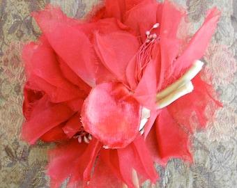 1930's Floppy Red Silk Flower