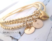 Personalized Hand Stamped Personalized Jewelry - Gold Filled Initial Bracelets - Gold Filled Beaded Bracelet - Set Of Three - Forever Love