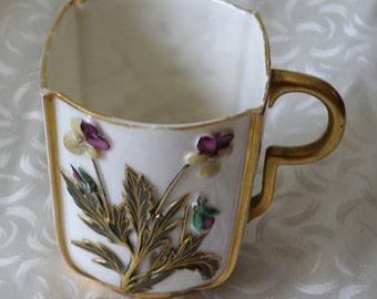 Cup with Pansies Flowers Royal Worcester Circa Late 1800s