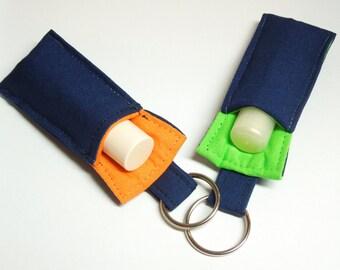 keychain Chapstick Holder, Lip Balm keychain,Broncos Key chain,Seahawks Key chain;for teacher,school color theme,blue orange,lime green