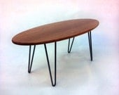 "Solid Cherry - 47"" Surf Board Elliptical Mid Century Modern Coffee Table with Hairpin Legs - Eames Proportion Atomic Era Design"