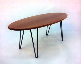 Solid Cherry Surf Board Elliptical Mid Century Modern Coffee Table with Hairpin Legs - Eames Proportion Atomic Era Design