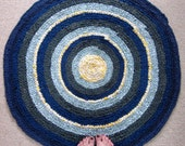 Recycled Yellow Blue and Green Crochet Rag Rug Bullseye Primitive Throw Rug Cottage Chic