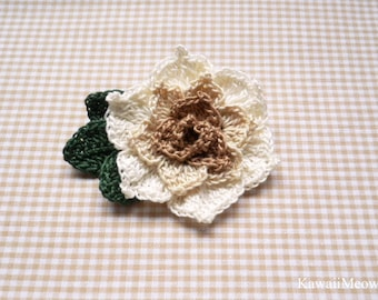 Crochet Kawaii Corsage Brooch - Rose Beige -