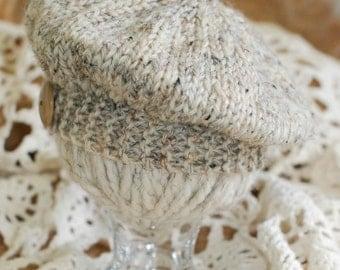 "Wee ""Babie Beret"" Knit in Subtle Organic Oatmeal Tweed Tones"