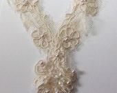 Vintage - Ecru Beige - Lace & Sequin Beading appliqué -  Floral Y- shaped Small Neckline embellishment (1) wedding, bridal, embroidery