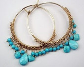 SALE 35% OFF Sleeping Beauty Turquoise Wire Wrapped 14kt Gold Filled Hoop Earrings