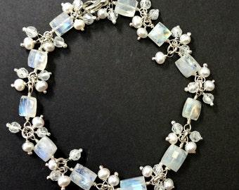 Wedding Bracelet Wire Wrap Moonstone Bracelet Pearl Gem Cluster Dangle Bracelet Bridal Jewelry