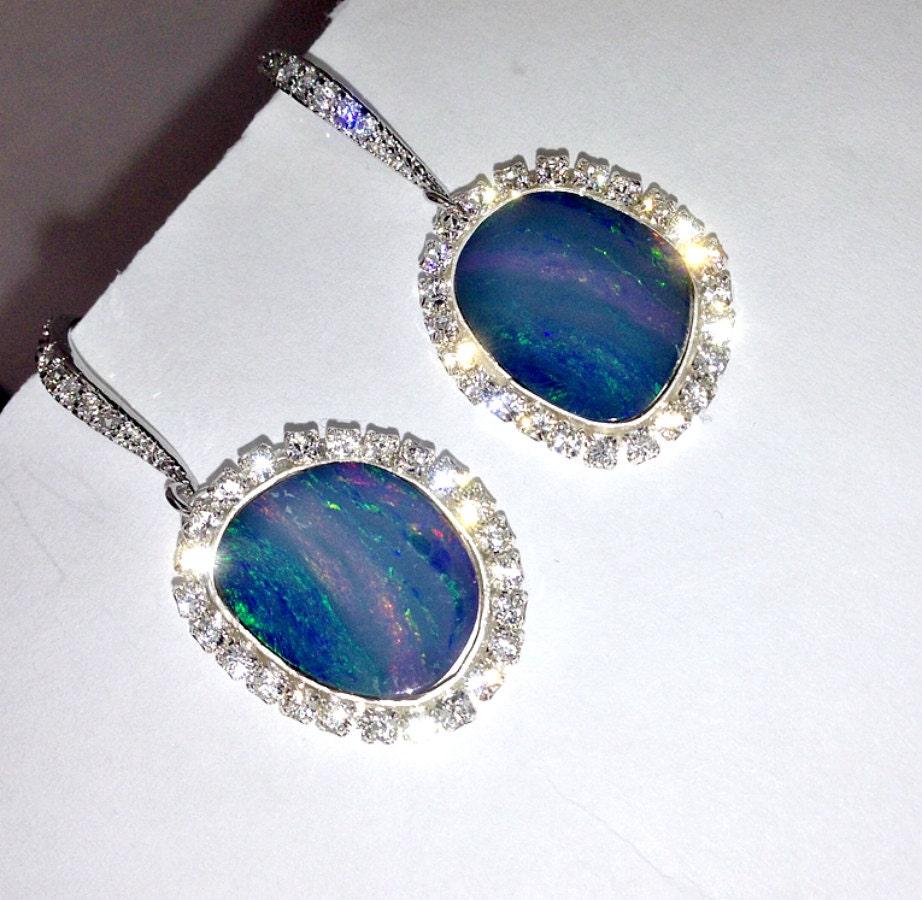 black opal earrings australian black opal lightning ridge