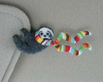 Sloth plush Car Visor cling on -  stuffed animal  with bendable legs and scarf - felt rain forest animal