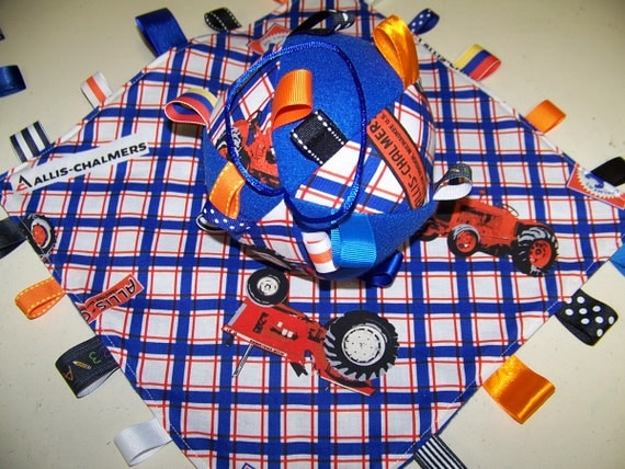 Allis Chalmers Baby Ribbon Tag Ball And Minky Blanket Handmade