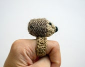 fuzzy hedgehog knitted amigurumi ring
