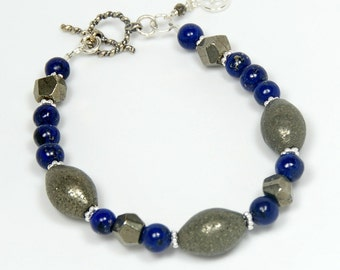 Pyrite Bracelet. Lapis Lazuli, Sterling Silver, Cobalt Blue, with Toggle and Charm
