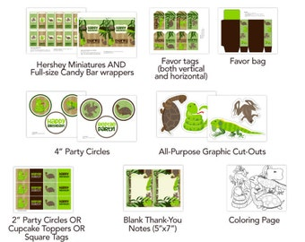 Reptile Themed Mega Party Package - Favors, Signs, Labels, Banner, Etc. - KID50A