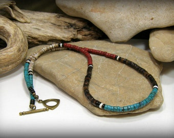 Mens Necklace, Tribal Necklace, Turquoise Necklace, Heishi Necklace, Southwest Jewelry, Mens Jewelry, Native American Inspired