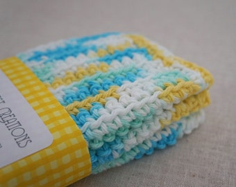 Dishcloths, Cotton Crochet in Blue, Yellow, and White.