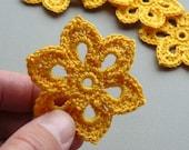8 Crochet Flower Appliques -- 2 inch Diameter, in Goldenrod Yellow